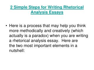 2 Simple Steps  for Writing Rhetorical Analysis  Essays