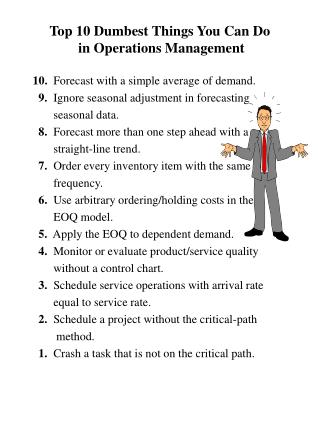 Top 10 Dumbest Things You Can Do  in Operations Management