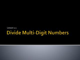 Divide Multi-Digit Numbers
