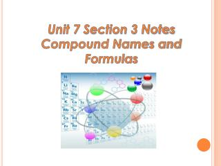 Unit 7 Section  3 Notes Compound Names and Formulas