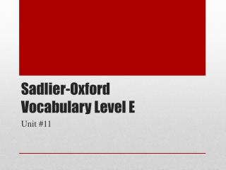 Sadlier -Oxford Vocabulary Level E
