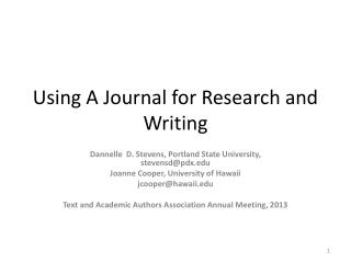 Using A Journal for Research and Writing
