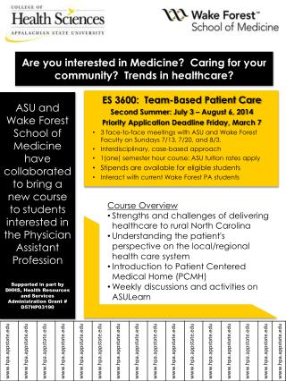 ES 3600:  Team-Based Patient Care  Second Summer: July  3 – August 6,  2014