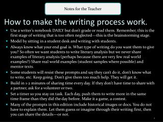 How to make the writing process work.