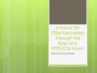 A Focus On STEM Education Through the Eyes of a PPPS/CDI intern