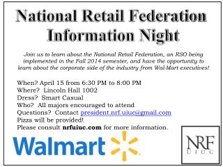 National Retail Federation  Information Night