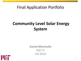 Final Application  Portfolio Community  Level Solar Energy System