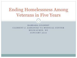 Ending Homelessness Among Veterans in Five Years