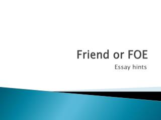 technology friend or foe essay Technology, friend or foe what is the one aspect of a human's life that can either help to keep him alive or be the ultimate killer the answer is technology.