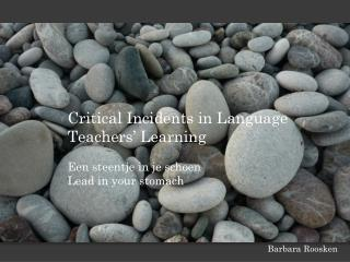 Critical  Incidents  in Language Teachers� Learning Een steentje in je schoen