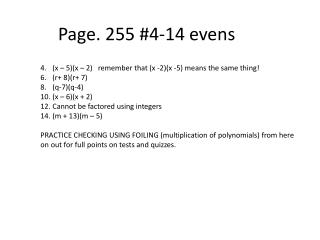Page. 255 #4-14 evens