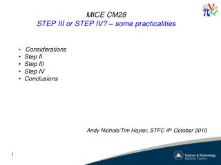 MICE  CM28 STEP III or STEP IV? � some practicalities
