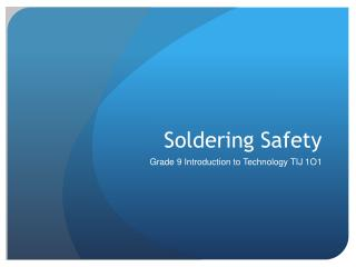 Soldering Safety