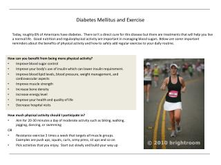 Diabetes Mellitus and Exercise
