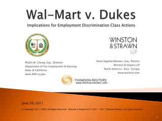 Wal-Mart v. Dukes Implications for Employment Discrimination Class Actions