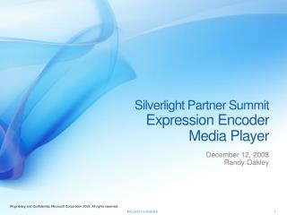 Silverlight Partner Summit Expression Encoder  Media Player