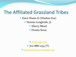 The Affiliated Grassland Tribes