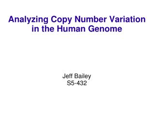 Analyzing Copy Number Variation in the Human Genome