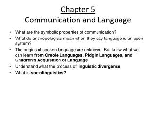 Chapter 5 Communication and Language