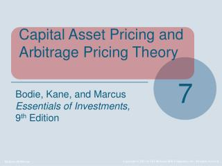 Capital Asset Pricing and Arbitrage Pricing Theory