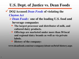 U.S. Dept. of Justice vs. Dean Foods
