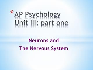 AP Psychology  Unit III: part one