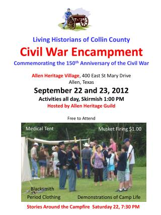 Living Historians of Collin County Civil War Encampment