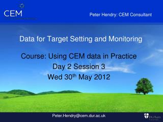 Data for Target Setting and Monitoring