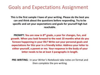 Goals and Expectations Assignment