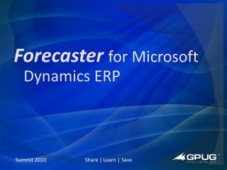 Forecaster for Microsoft Dynamics ERP