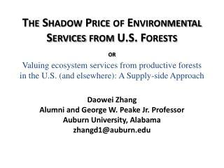 Daowei  Zhang Alumni and George W.  Peake  Jr. Professor Auburn University, Alabama