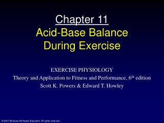 Chapter 11 Acid-Base Balance During Exercise