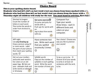 Name:______________________________  Date___________________________ Choice Board