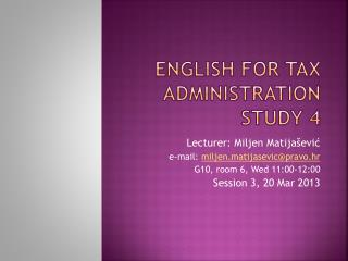 English for Tax Administration Study 4
