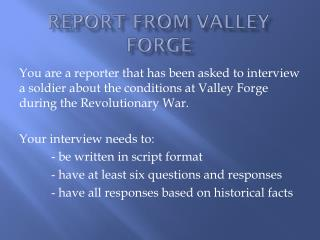 Report from Valley Forge