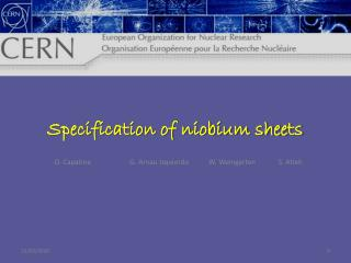 Specification of niobium sheets