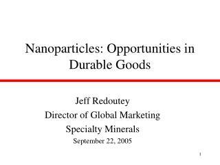 Nanoparticles: Opportunities in Durable Goods