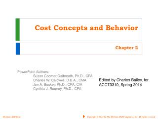 Cost Concepts and Behavior