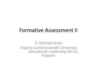 Formative Assessment II