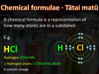 A chemical formula  is a representation of how many atoms are in a substance. E.g.