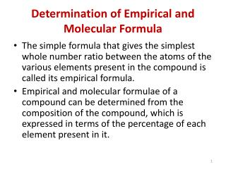 Determination of Empirical and Molecular Formula