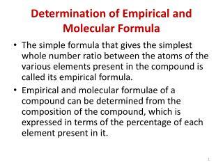Determination of Empirical and Molecular Formula