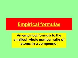 Empirical formulae