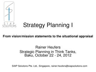 Strategy Planning I