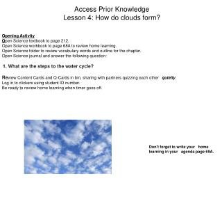 Access Prior Knowledge Lesson 4: How do clouds form?