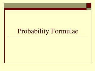 Probability Formulae