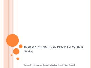 Formatting Content in Word