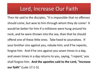 Lord, Increase Our Faith