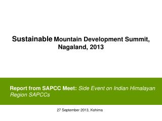 Report from SAPCC Meet:  Side Event on Indian Himalayan Region SAPCCs