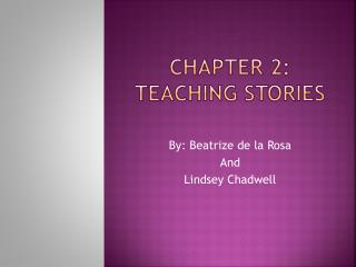 Chapter 2: Teaching Stories